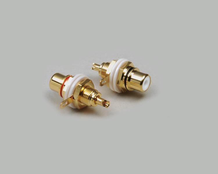 build-in RCA socket, High-end design, fully gold plated, insulated installation, black color ring
