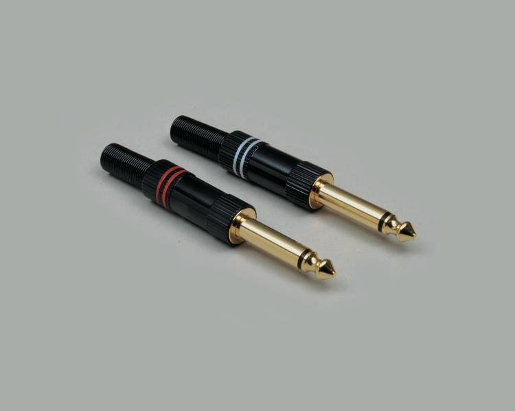 High-end design audio plug 6,3mm, 2-pin, anti-kink protection, fully gold plated, red color ring, cable-Ø 6,5mm, black housing