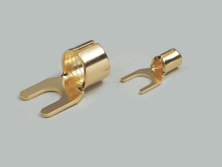 cable shoe, fully gold plated, for speaker cable, cable-Ø 2,5mm²