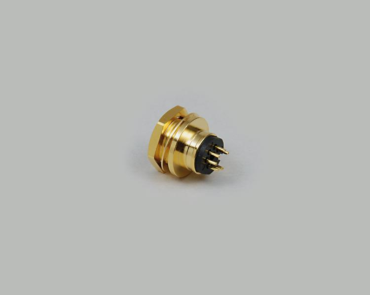 build-in Mini-DIN socket, 4-pin, single-hole mounting, fully gold plated