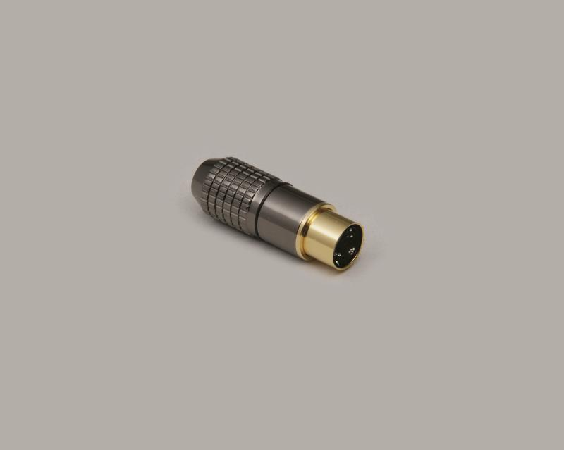 Mini-DIN plug, 6-pin, high-quality metal design, gold plated contacts