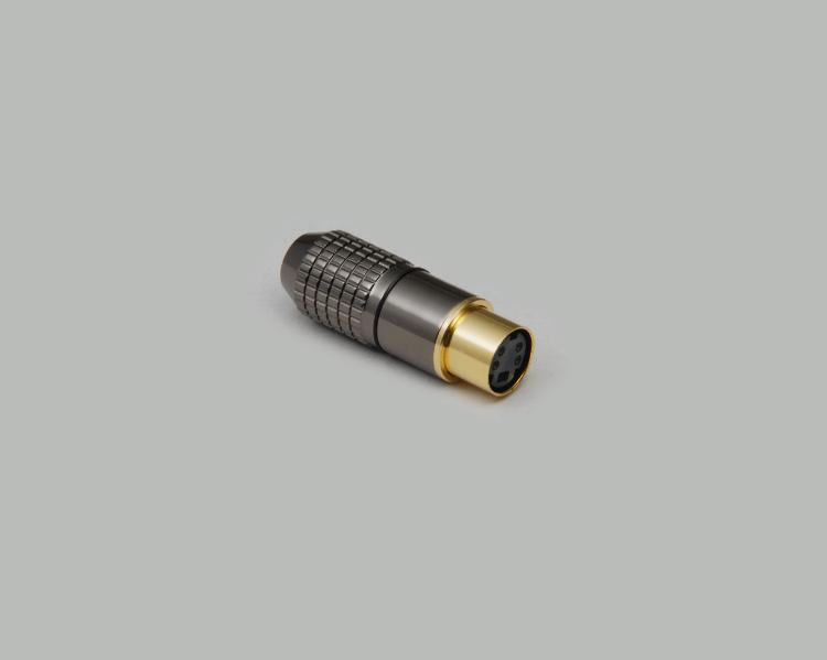Mini-DIN plug, 4-pin, high-quality metal design, gold plated contacts