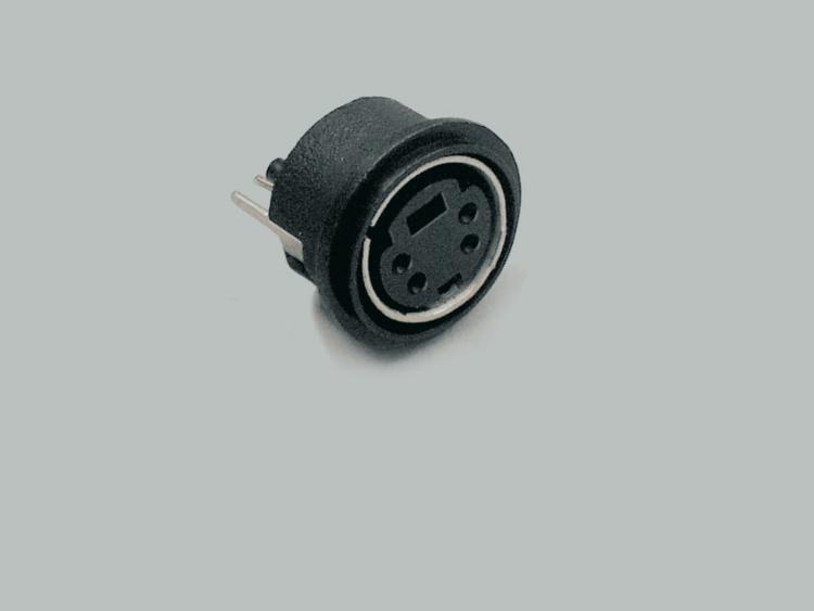 build-in Mini-DIN socket, 4-pin, round design, PCB type 180°
