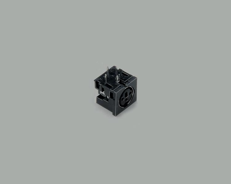 build-in Mini-DIN socket, 3-pin, PCB type 90°, black, unshielded