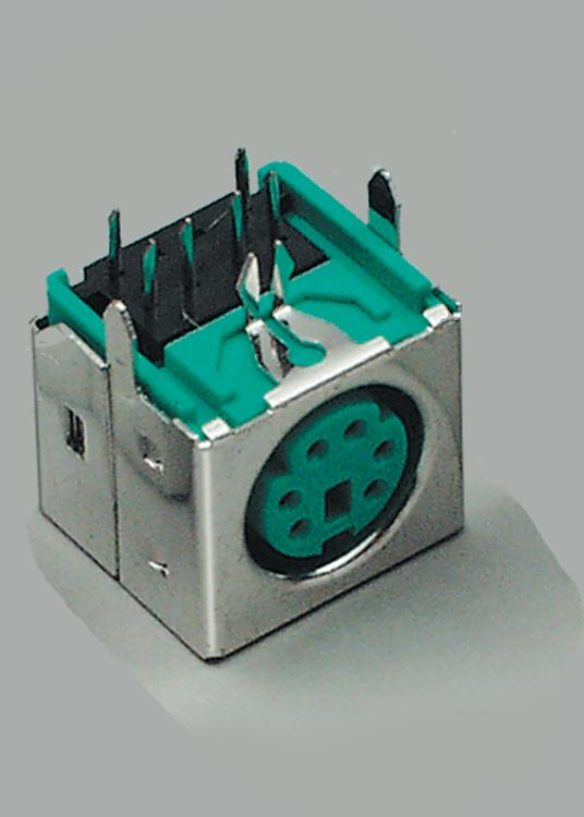 build-in Mini-DIN socket, 4 pins, shielded, black, PCB type 90°