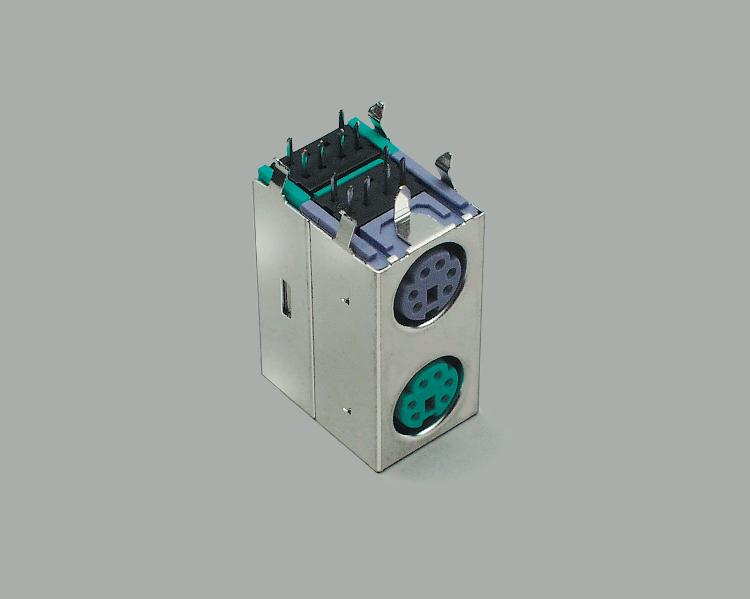 Mini-DIN socket, 2x6-pin, green-purple, shielded, PCB type 90°