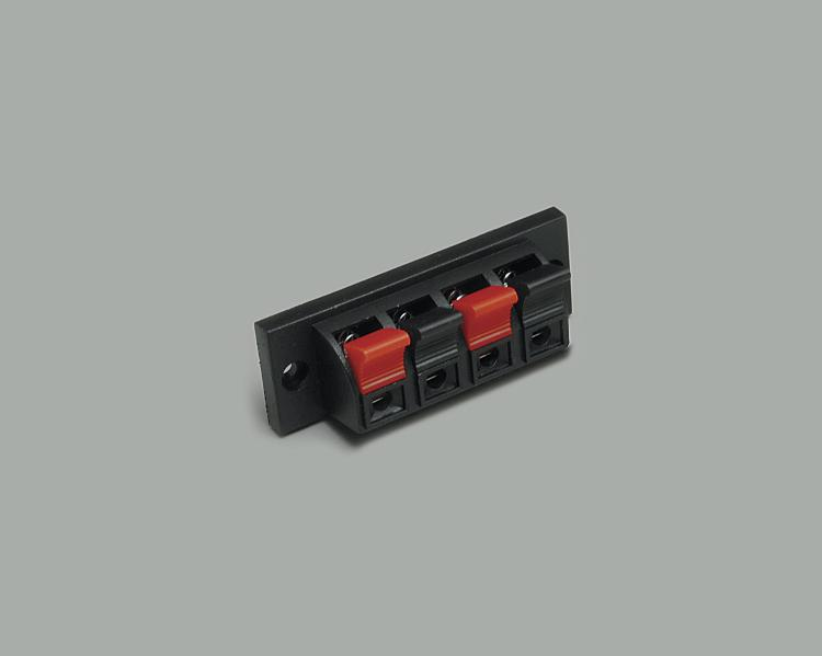 speaker terminal, clamp connection 4-way, cable opening 4,0mmx2,5mm
