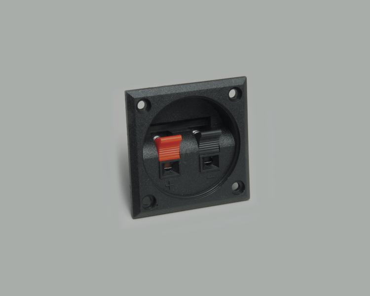 speaker terminal, square, clamp connection 2-way, cable opening 4,0mmx2,5mm