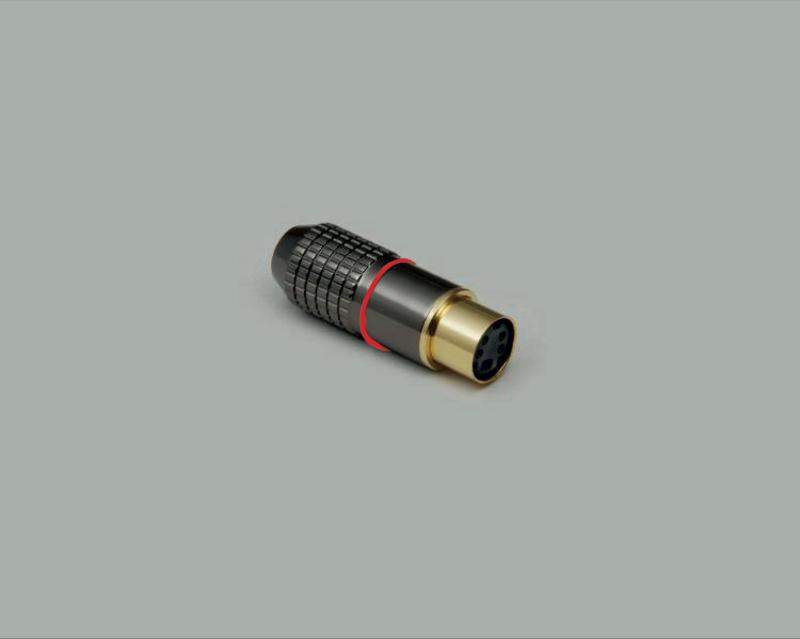 Mini DIN jack, 4-pin, high quality metal design, gold plated contact, red color ring