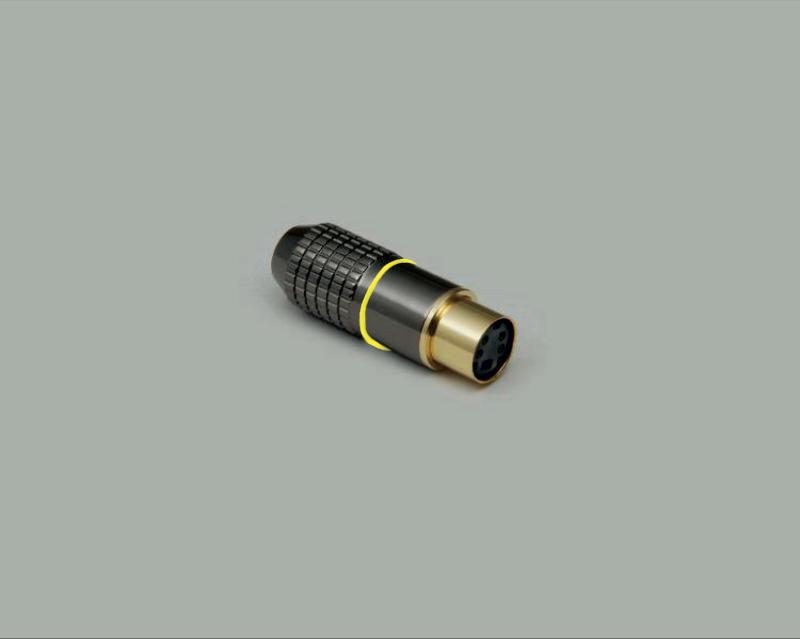 Mini DIN jack, 4-pin, high quality metal design, gold plated contact, yellow color ring