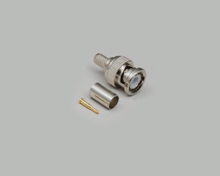 BNC plug, crimp type, RG 6/U, Delrin, 75 Ohm