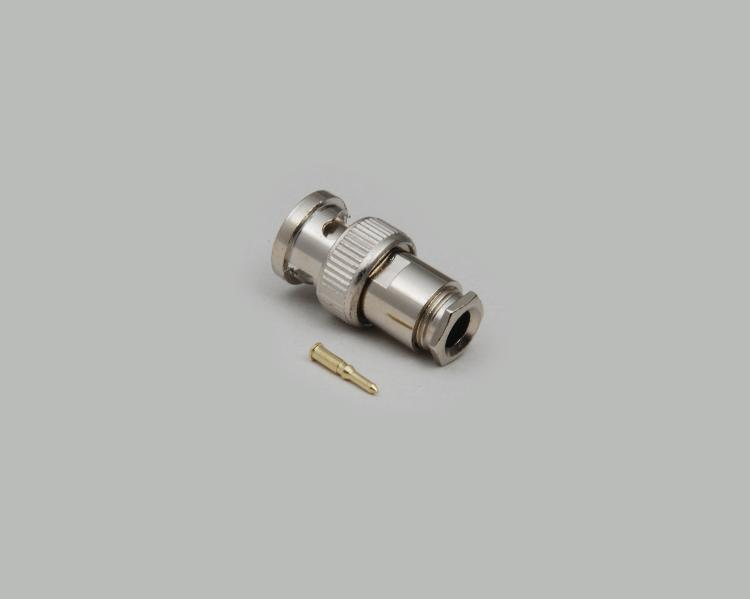BNC plug, solder type, for Aircell 7, Teflon, 50 Ohm