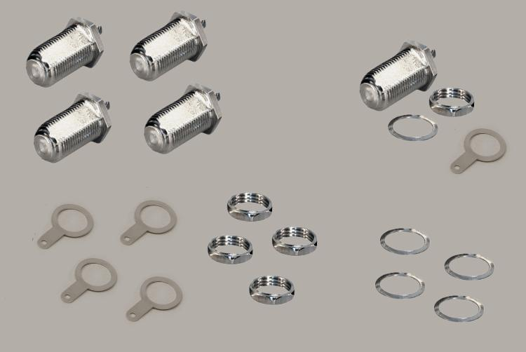 Set: 5x build-in F-socket, single hole mouting, thread length 18mm, with nut, Delrin, 75 Ohm
