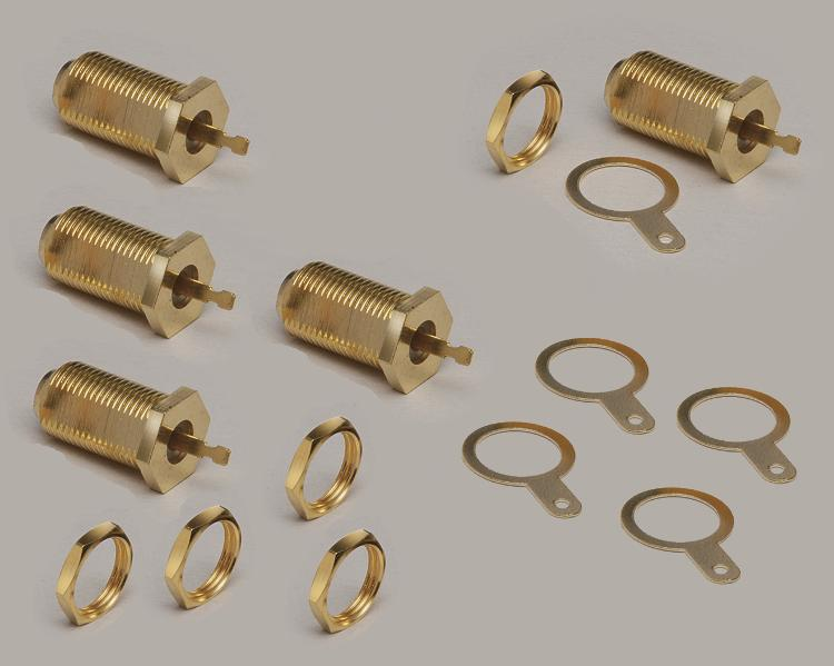 Set: 5x build-in F-socket, fully gold plated, single hole mouting, thread length 18mm, with nut, Delrin, 75 Ohm