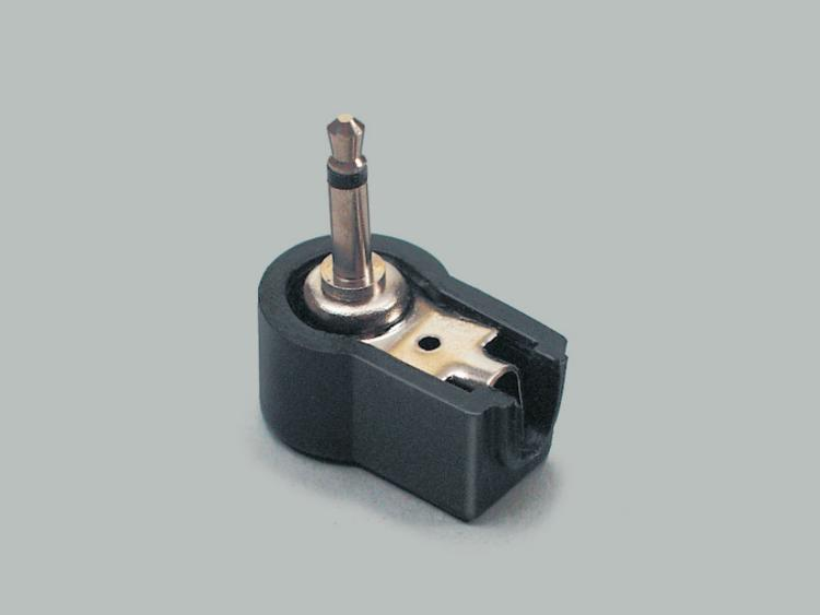right angled audio plug 2,5mm, mono, plastic housing