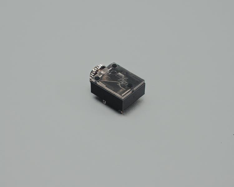 build-in audio socket 3,5mm mono, PCB type 90°, high quality, closed circuit, with switch, plastic housing with thread