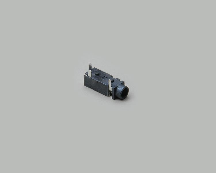 build-in audio socket 3,5mm mono, PCB type 90°, high quality, closed circuit, with switch, plastic housing
