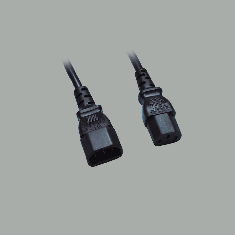 IEC extension cable, cable H03VV-F 3G0,75mm² with IEC C-14 plug and IEC C-13 socket , black, length 1,8m
