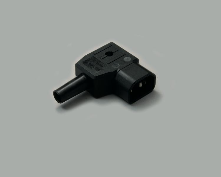 IEC CEE-22 plug, screw type, cable entry on the right side, 65°C, black