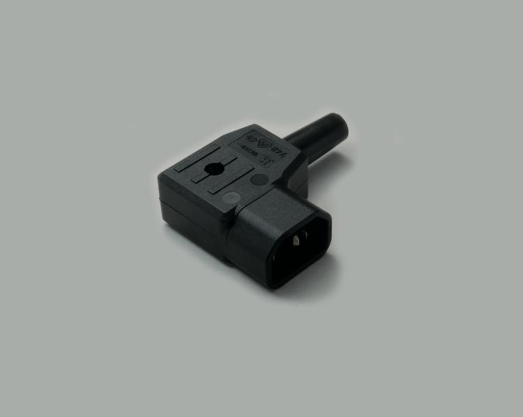 IEC CEE-22 plug, screw type, cable entry on the left side, 65°C, black