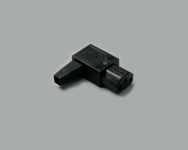 IEC C-13 jack, screw type, cable entry on the right side, 65°C, black