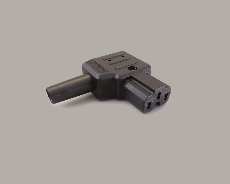 IEC C-16A jack, screw type, cable entry on the right side, 155°C, black