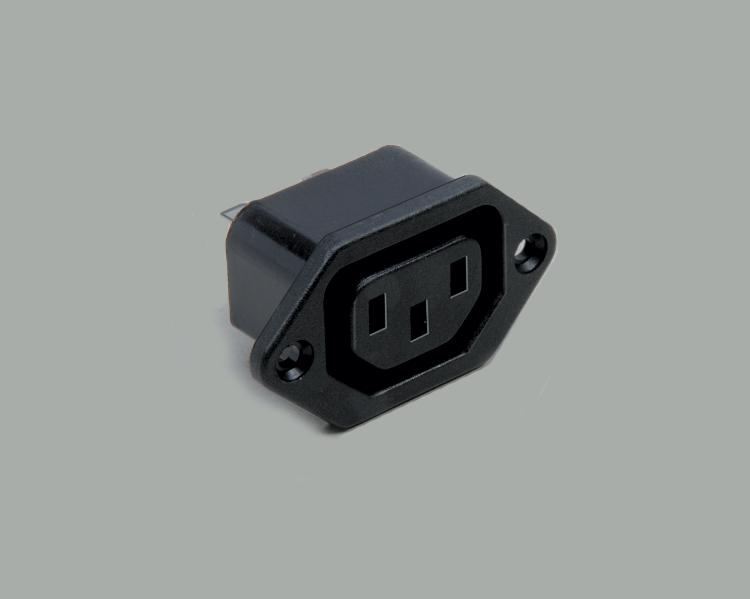 build-in IEC socket, solder type, contact length 4,8mm, 3-pin, flange mounting
