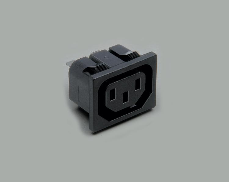 build-in IEC socket, solder type, contact length 4,8mm, 3-pin, snap-in mounting