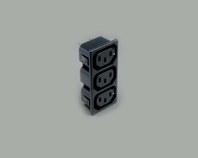 build-in IEC socket, triple version, solder type, contact length 4,8mm, 3-pin, snap-in mounting