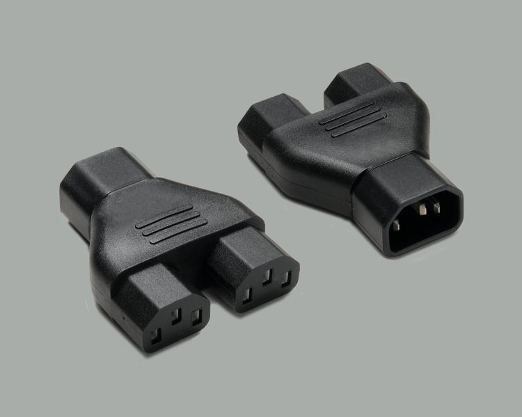 IEC Y-distributor, IEC C-14 plug to 2x IEC C-13 socket, black