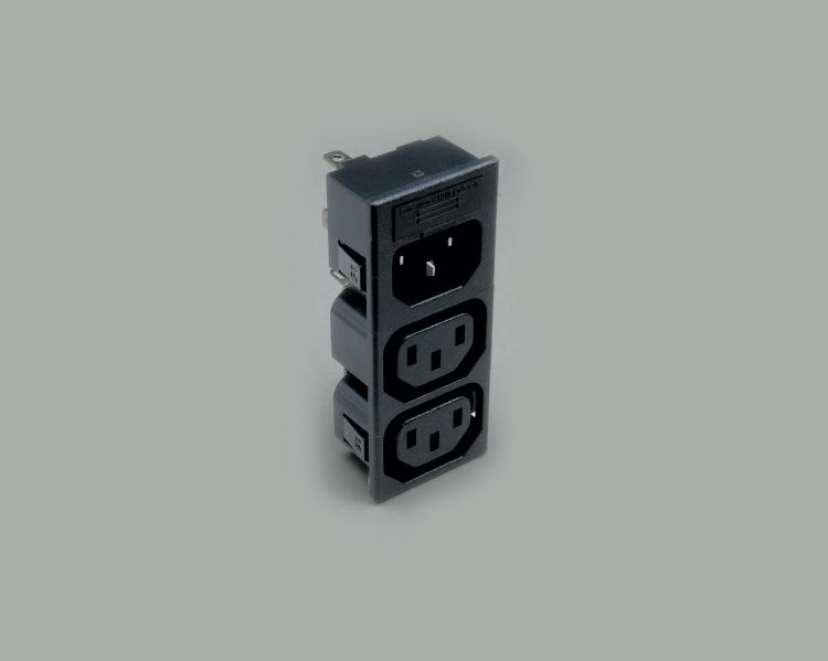 build-in IEC combination, fourfold  version, IEC C-14 plug to 3x IEC C-13 jack, solder type, contact length 4,8mm, 3-pin, snap-in mounting, with fuse holder