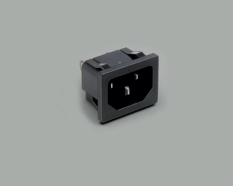 IEC C-14 plug, solder type, contact length 4,8mm, 3-pin, snap-in mounting