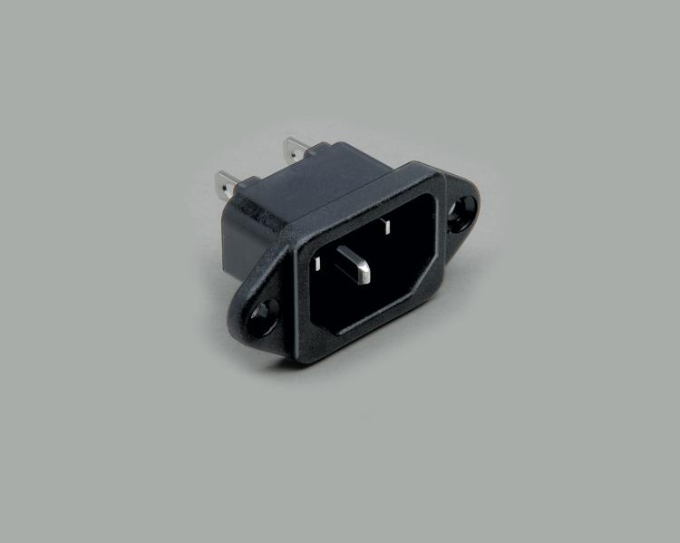 IEC C-14 plug, solder type, contact length 4,8mm, 3-pin, flange mounting