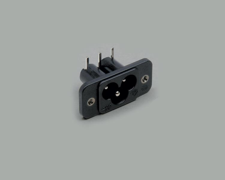 build-in AC power C-6 plug, PCB type 90°, 3-pin, flange mounting