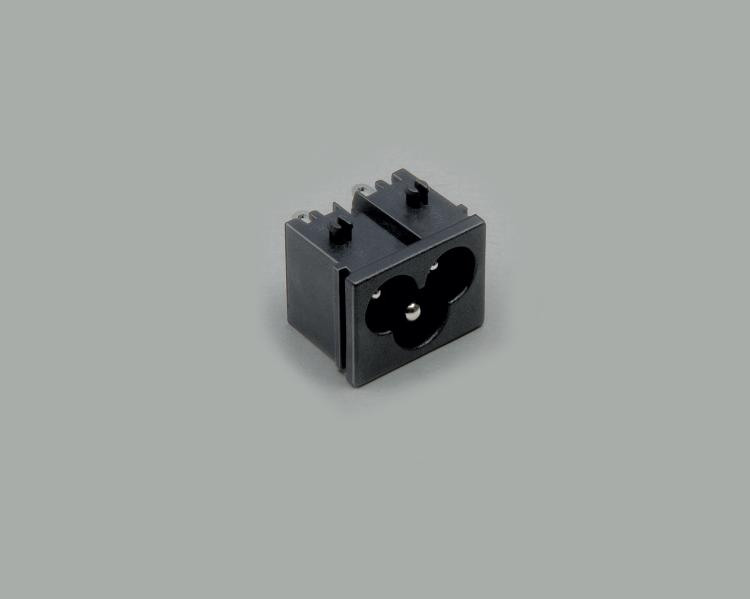 build-in AC power C-6 plug, solder type, 3-pin, housing nut and central pin
