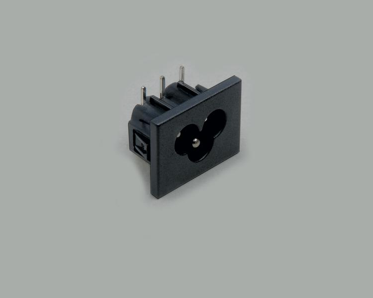 build-in AC power C-6 plug, PCB type 90°, 3-pin, snap-in mounting