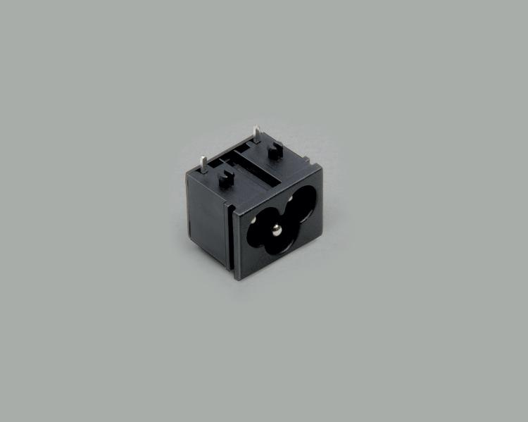 build-in AC power C-6 plug, PCB type 90°, 3-pin, housing nut and central pin