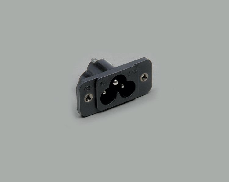build-in AC power C-6 plug, solder type, 3-pin, flange mounting
