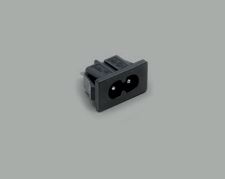 build-in AC power C-8 plug, solder type, 2-pin, snap-in mounting