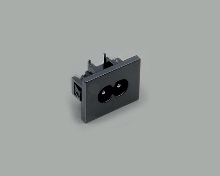 build-in AC power C-8 plug, PCB type 90°, 2-pin, snap-in mounting