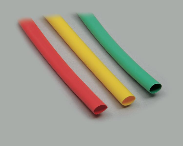 Set: 3x polyolefin shrinking tubes, recovered Ø 6,4mm, 2:1 shrink ratio, cross-linked, Operating Temperature -55°C to +135°C, length 1,0m ; 1x yellow; 1x green; 1x red