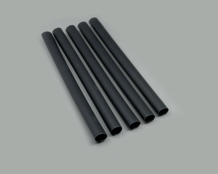 Set: 5x polyolefin shrinking tube PLDW 104, recovered Ø 24,0mm, 4:1 shrink ratio, cross-linked, thermoplastic adhesive inner liner, Operating Temperature -55°C to +145°C, black