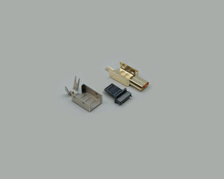 Micro HDMI plug, type D, 19-pin, gold plated contacts, with strain relief, cable-Ø 5mm