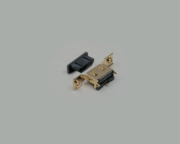 build-in HDMI socket 1.2A, SMD type, with flange, gold plated contacts