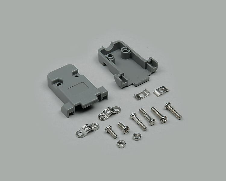 D-Sub housing, 9-pin, grey, plastic, cable-Ø 7mm