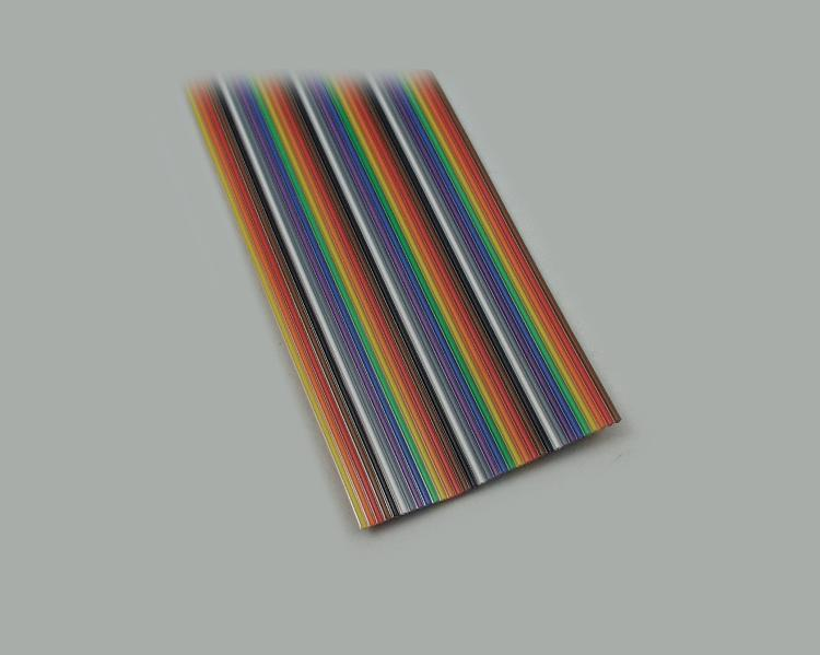 ribbon cable AWG 28, 7x0,127mm tinned, 10-pin, grid pitch 1,27mm, colored (IEC norm)