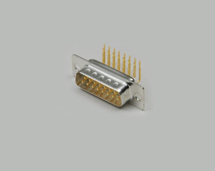 D-Sub pin header, PCB type 90°, 15-pin, turned gold plated contacts, pin spacing 7,2mm