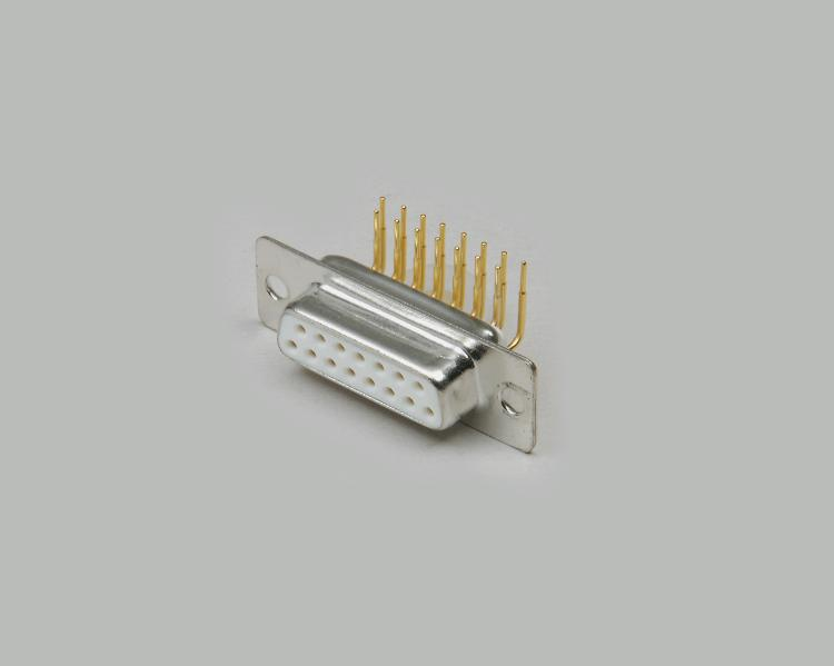 D-Sub socket connector, PCB type 90°, 9-pin, turned gold plated contacts, pin spacing 7,2mm