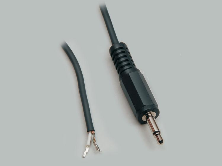 connection cable, audio plug 3,5mm mono to stripped (10mm) and tinned (5mm) ends, molded, PVC, black, cable-Ø 2,5mm, cable length 1,8m