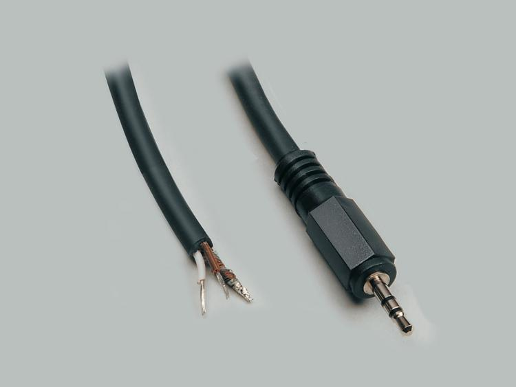 connection cable, audio plug 2,5mm stereo to stripped (10mm) and tinned (5mm) ends, molded, PVC, black, cable-Ø 4,1mm, cable length 1,8m